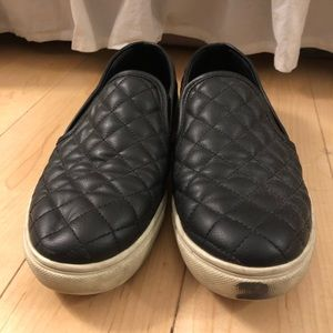 Black Leather Quilted Steve Madden Fat Sneakers